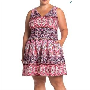 Vince Camuto Geo Fit & Flare Plus Size Dress 16W